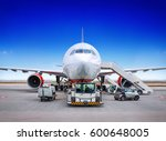 airplane getting prepared for... | Shutterstock . vector #600648005