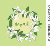 hand drawn floral wreath of... | Shutterstock .eps vector #600654509