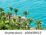 aerial view of green palm trees ... | Shutterstock . vector #600658415