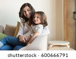 mother and daughter relaxing... | Shutterstock . vector #600666791