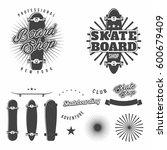 skateboarding monochrome badges ... | Shutterstock .eps vector #600679409