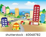 Stylized Seaside Town With...
