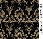embroidery style floral baroque ... | Shutterstock .eps vector #600690401