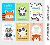 set of cute animals poster.... | Shutterstock .eps vector #600693104