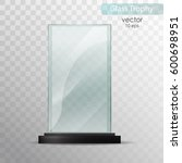glass plate. glass trophy award.... | Shutterstock .eps vector #600698951