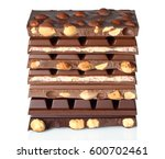 broken chocolate bars isolated... | Shutterstock . vector #600702461