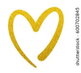 gold paint heart love sign... | Shutterstock . vector #600702845