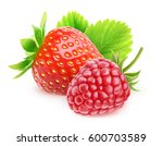 isolated berries. strawberry... | Shutterstock . vector #600703589