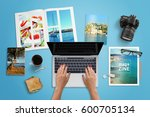 travel agency work desk. woman... | Shutterstock . vector #600705134