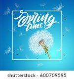 vector dandelion with flying... | Shutterstock .eps vector #600709595