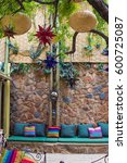 moroccan themed courtyard with...   Shutterstock . vector #600725087