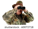 hunter using binoculars to  look for game, isolated on white - stock photo