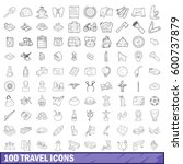 100 travel icons set in outline ... | Shutterstock .eps vector #600737879