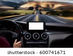drivers hands on steering wheel ... | Shutterstock . vector #600741671