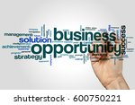Small photo of Business opportunity word cloud concept on grey background.