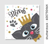 colorful greeting card with cat ...   Shutterstock .eps vector #600750464