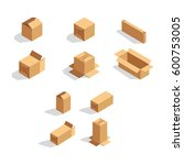 set of vector isometric box  | Shutterstock .eps vector #600753005