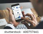man working on digital device... | Shutterstock . vector #600757661