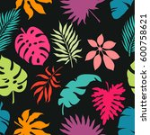 exotic leaves and flowers on... | Shutterstock .eps vector #600758621