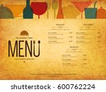 restaurant menu design. vector... | Shutterstock .eps vector #600762224