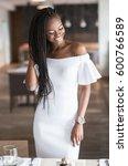 happy african american girl... | Shutterstock . vector #600766589