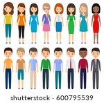 characters flat people. vector... | Shutterstock .eps vector #600795539