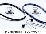 two disassembled stethoscope on ... | Shutterstock . vector #600799349
