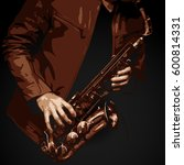 detailed vector of male jazz... | Shutterstock .eps vector #600814331