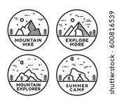 linear mountain badge set.... | Shutterstock .eps vector #600816539