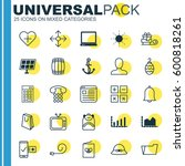 set of 25 universal editable... | Shutterstock .eps vector #600818261