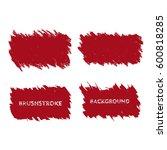 dark red brush stroke frame set.... | Shutterstock .eps vector #600818285