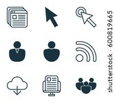 set of 9 world wide web icons.... | Shutterstock .eps vector #600819665