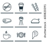 set of 9 meal icons. includes... | Shutterstock .eps vector #600820391