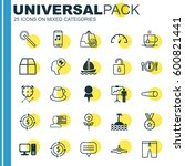 set of 25 universal editable... | Shutterstock .eps vector #600821441