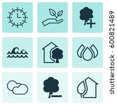 set of 9 ecology icons.... | Shutterstock .eps vector #600821489
