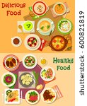soup  salad and meat dishes... | Shutterstock .eps vector #600821819