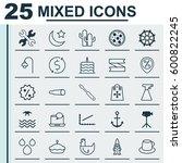 set of 25 universal editable... | Shutterstock .eps vector #600822245