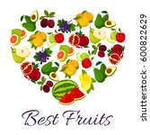 fruits combined in heart. farm... | Shutterstock .eps vector #600822629