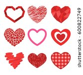 differents style red heart... | Shutterstock .eps vector #600822749