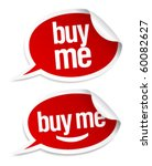 Buy me stickers set in form of speech bubbles. - stock vector