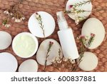 top view cosmetic herbal... | Shutterstock . vector #600837881