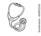 hand drawn stethoscope vector... | Shutterstock .eps vector #600852161