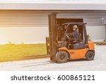 forklift driver in protective... | Shutterstock . vector #600865121