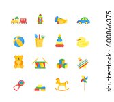 child toys color icons set for... | Shutterstock .eps vector #600866375