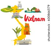 map of vietnam with landmarks | Shutterstock .eps vector #600866579
