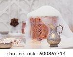 water jar  towel and copper...   Shutterstock . vector #600869714
