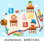 children and school objects in... | Shutterstock .eps vector #600871361