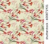 seamless pattern bouquet of... | Shutterstock . vector #600871931