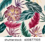 tropical flowers  jungle leaves ... | Shutterstock .eps vector #600877505