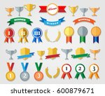flat trophy cup and award icons ... | Shutterstock .eps vector #600879671
